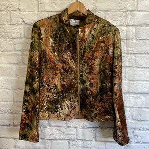 JOSEPH RIBKOFF Zip Up Velvet Velour Patterned Blazer Jacket